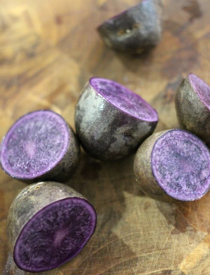 ROASTED PURPLE POTATOES AND CARROTS