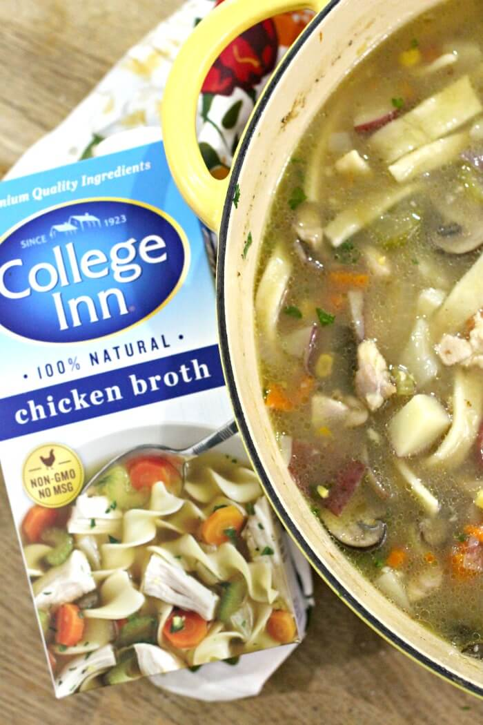 VEGETABLE CHICKEN SOUP WITH NOODLES