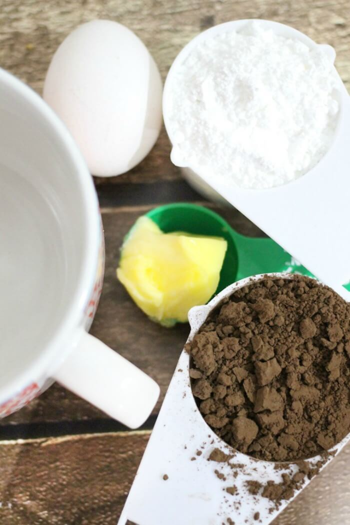 CHOCOLATE MUG CAKE INGREDIENTS