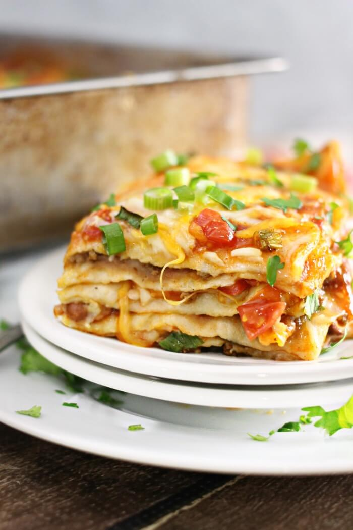 MEXICAN LASAGNA WITH FLOUR TORTILLAS