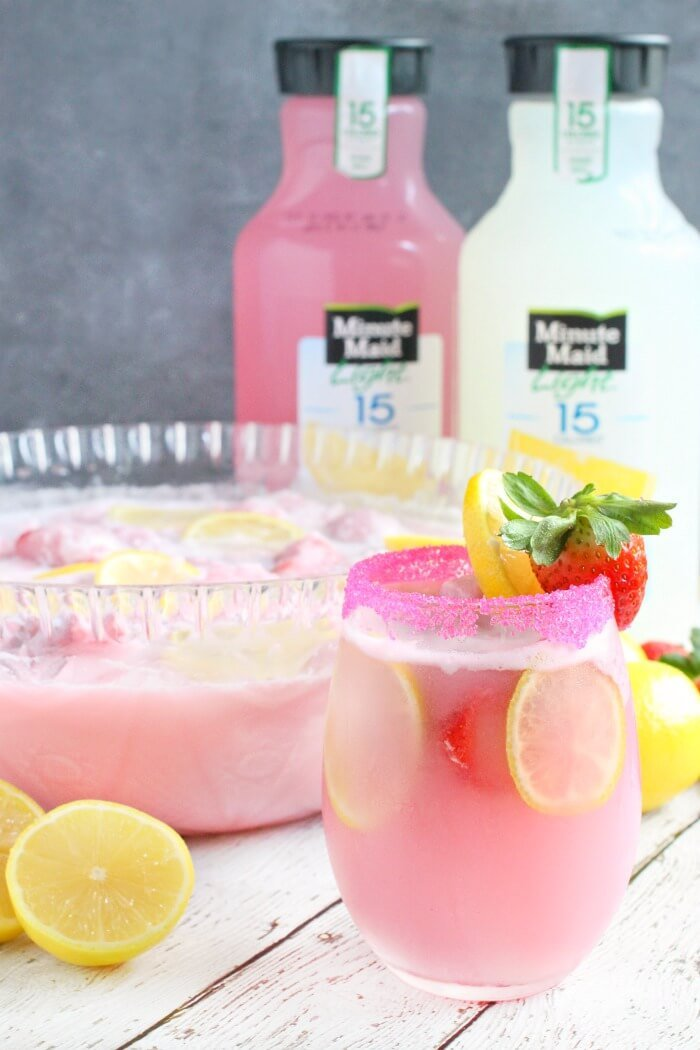 PINK SHERBET PUNCH WITH MINUTE MADE LEMONADE