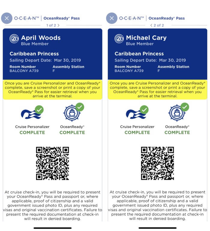 EMBARKATION VIA THE OCEANREADY APP FOR PRINCESS CRUISES WITH MEDALLION TECHNOLOGY