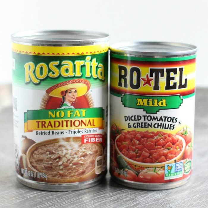 ROTEL AND REFRIED BEANS FOR TOSTADAS