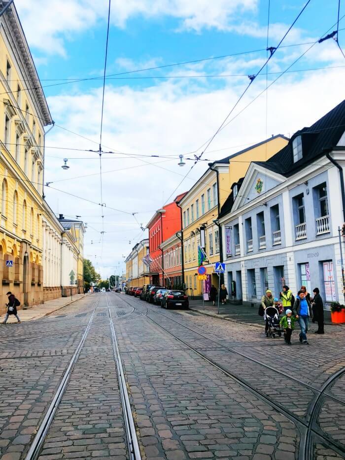 TROLLEY LINES IN HELSINKI FINLAND