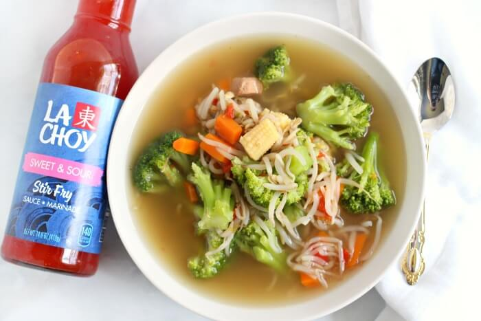 CHOW MEIN SOUP WITH SWEET AND SOUR SAUCE BOTTLE