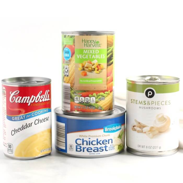 CANNED GOODS FOR CHEESY CHICKEN AND RICE CASSEROLE