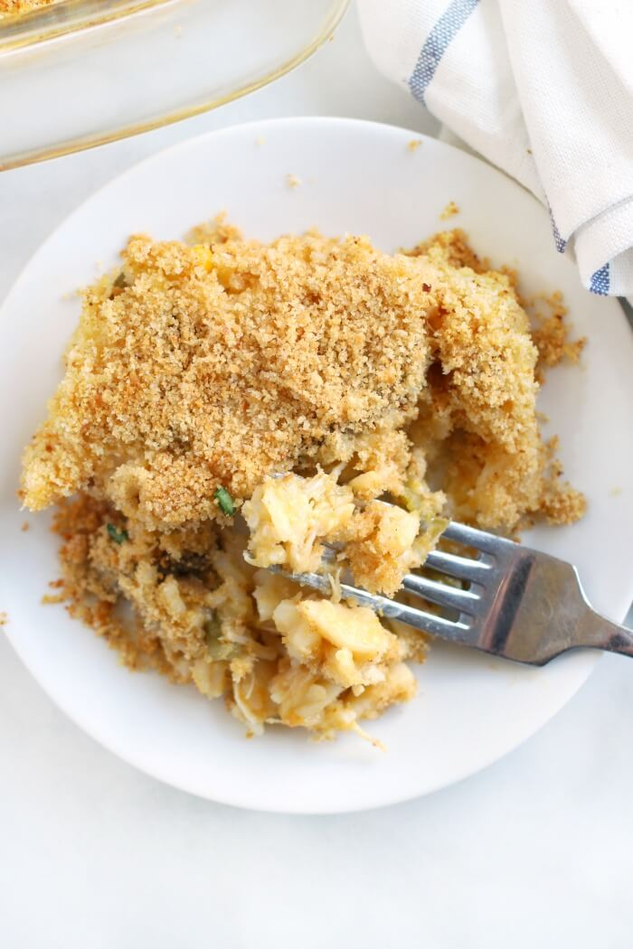 CHEESY CHICKEN AND RICE CASSEROLE PLATED
