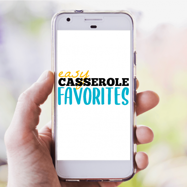 picture of someone holding phone with casserole ebook loaded