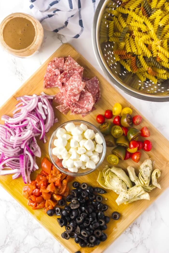 INGREDIENTS FOR ITALIAN PASTA SALAD
