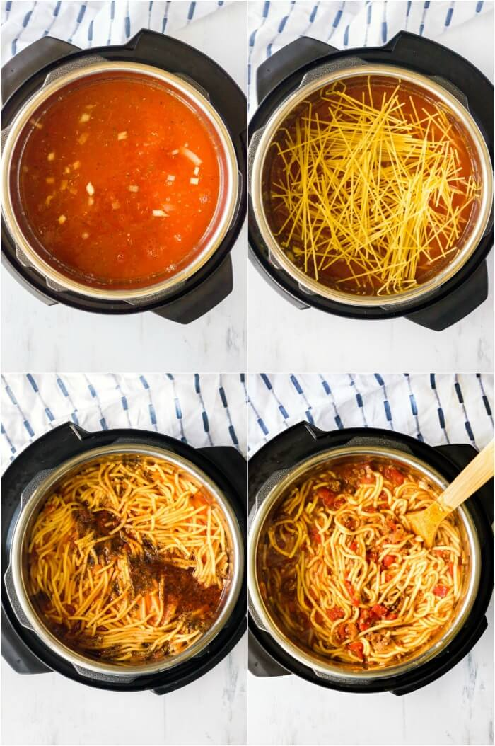 SPAGHETTI IN THE INSTANT POT STEP BY STEP